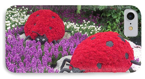 IPhone Case featuring the photograph Flower Garden Ladybug Purple White I by Navin Joshi
