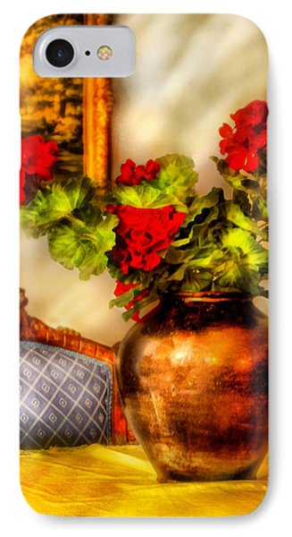 Flower - Geraniums On A Table  Phone Case by Mike Savad