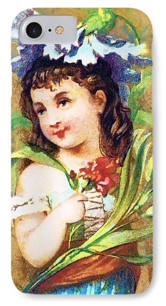 Flower Girl Phone Case by Vintage Trading Cards