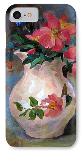 IPhone Case featuring the painting Flower In Vase by Jieming Wang