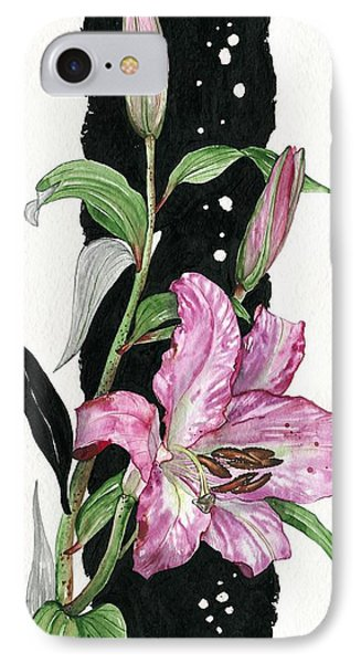 IPhone Case featuring the painting Flower Lily 02 Elena Yakubovich by Elena Yakubovich