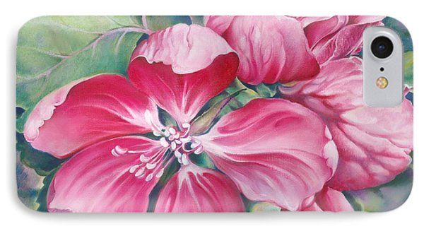 IPhone Case featuring the painting Flower Of Crab-apple by Anna Ewa Miarczynska