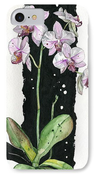 IPhone Case featuring the painting Flower Orchid 02 Elena Yakubovich by Elena Yakubovich