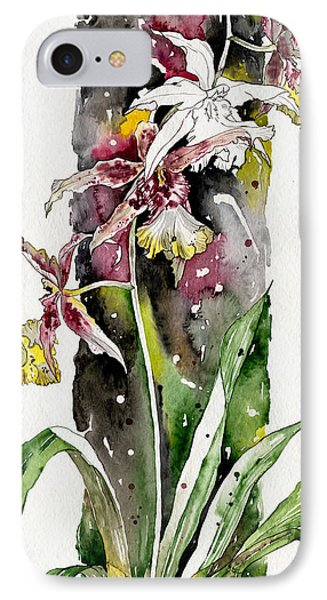 IPhone Case featuring the painting Flower Orchid 03 Elena Yakubovich by Elena Yakubovich