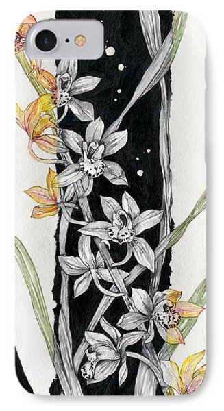 IPhone Case featuring the painting Flower Orchid 07 Elena Yakubovich by Elena Yakubovich