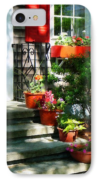 Flower Pots And Red Shutters Phone Case by Susan Savad