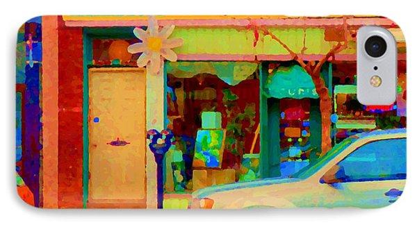 Flower Shop St Henri Boutique Fleuriste Window Notre Dame Ouest Montreal City Scene Carole Spandau Phone Case by Carole Spandau