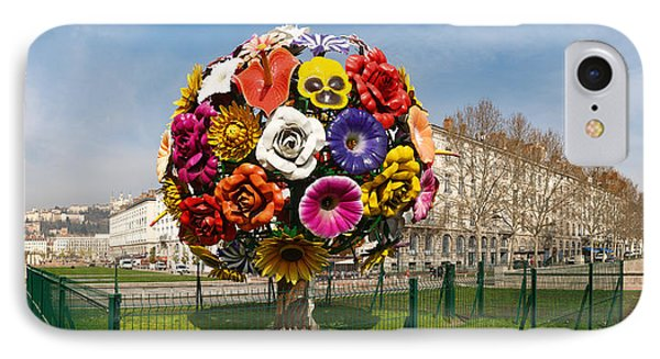 Flower Tree Sculpture At Place Antonin IPhone Case by Panoramic Images