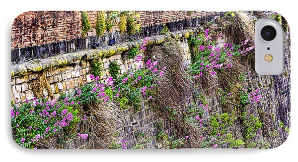 Flower Wall Along The Arno River- Florence Italy Phone Case by Jon Berghoff