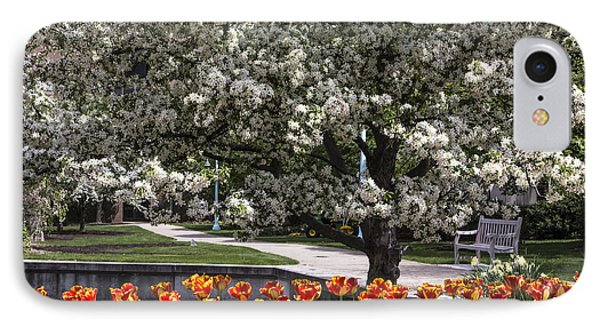 Flowers And Bench At Michigan State University  IPhone Case