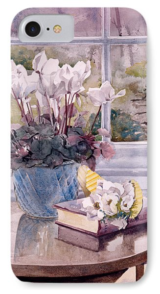 Flowers And Book On Table Phone Case by Julia Rowntree