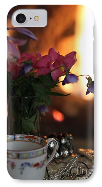 Flowers And Pearls Shabby Chic Wall Art IPhone Case by Kate Purdy