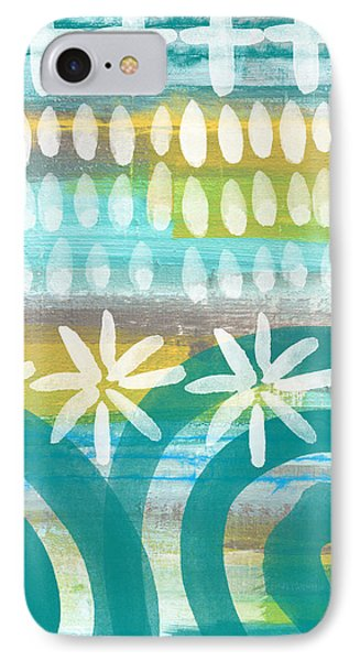 Flowers And Waves- Abstract Pattern Painting Phone Case by Linda Woods