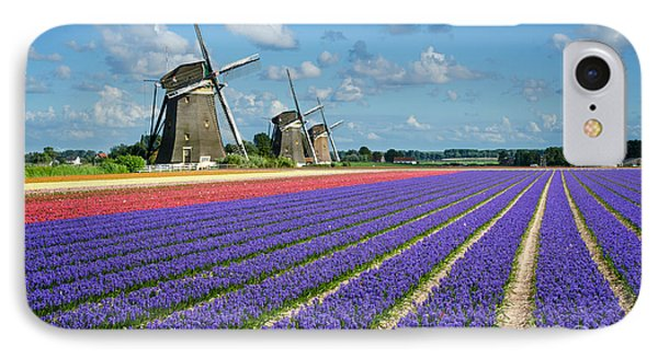 Landscape In Spring With Flowers And Windmills In Holland IPhone Case by IPics Photography