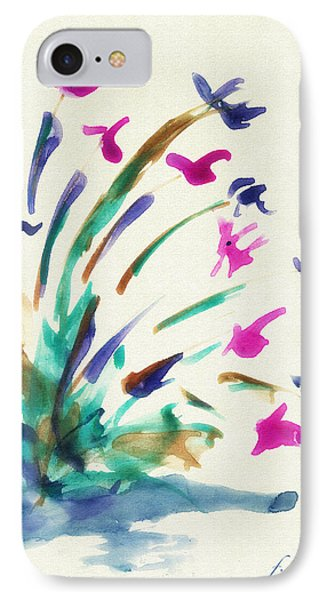 IPhone Case featuring the mixed media Flowers By The Pond by Frank Bright