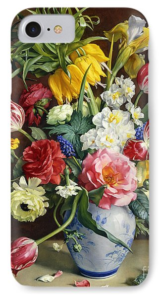 Flowers In A Blue And White Vase Phone Case by R Klausner