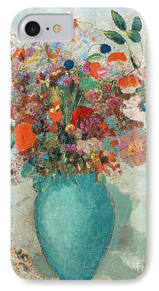 Flowers In A Turquoise Vase IPhone Case by Odilon Redon