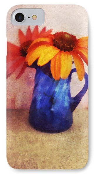 Flowers In  Blue Vase Phone Case by Ann Powell