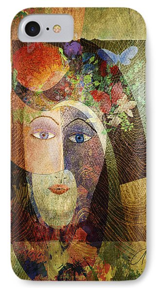IPhone Case featuring the digital art Flowers In Her Hair by Arline Wagner