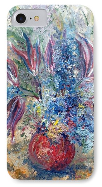 Flowers In Red Vase Phone Case by Irene Pomirchy