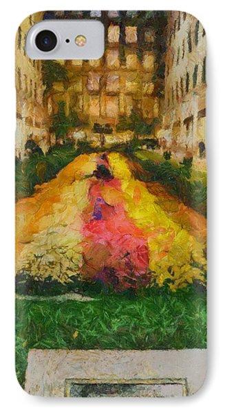 Flowers In Rockefeller Plaza IPhone Case by Dan Sproul