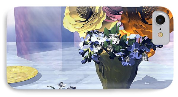 IPhone Case featuring the digital art Flowers In Vase by John Pangia