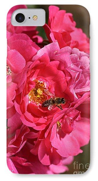 Flowers-roses-pink-bee Phone Case by Joy Watson