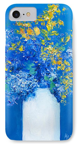 Flowers With Blue Background IPhone Case by Jan Matson