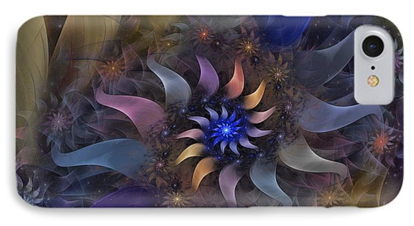 Flowery Fractal Composition With Stardust IPhone Case by Karin Kuhlmann
