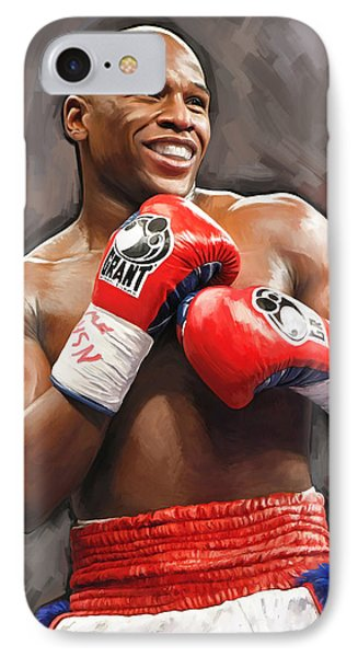 IPhone Case featuring the painting Floyd Mayweather Artwork by Sheraz A