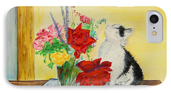 Fluff Smells The Lavender- Painting IPhone Case by Veronica Rickard