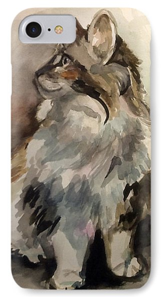 Fluffy Cat IPhone Case by Pattie Wall
