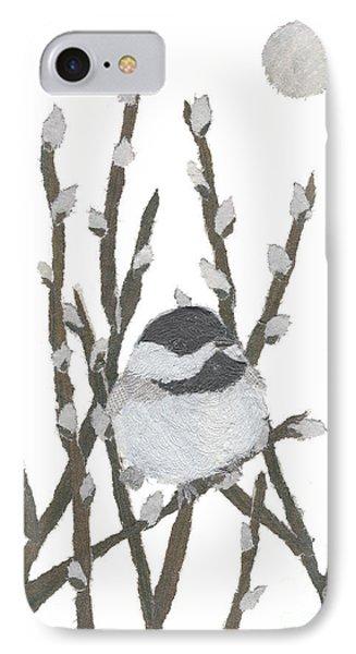 Chickadee Art Hand-torn Newspaper Collage Art By Keiko Suzuki Bless Hue Phone Case by Keiko Suzuki