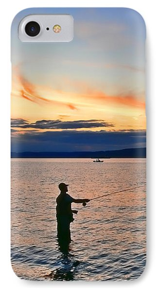 Fly Fishing  Fisherman On Puget Sound Washington Phone Case by Jennie Marie Schell