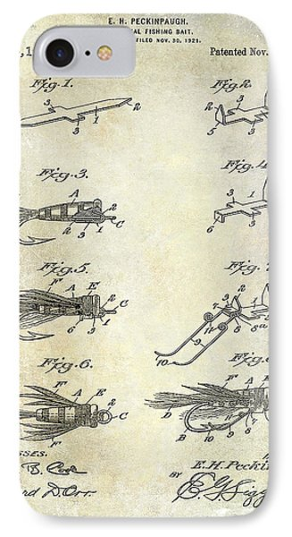 1922 Fly Fishing Lure Patent Drawing IPhone Case by Jon Neidert