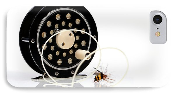 Fly Fishing Reel With Fly IPhone Case by Tom Mc Nemar