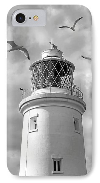 Fly Past - Seagulls Round Southwold Lighthouse In Black And White IPhone Case by Gill Billington