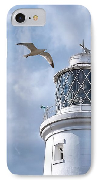 Fly Past - Seagulls Round Southwold Lighthouse - Square IPhone Case by Gill Billington
