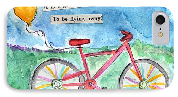 Flying Away- Bicycle And Balloon Painting IPhone Case