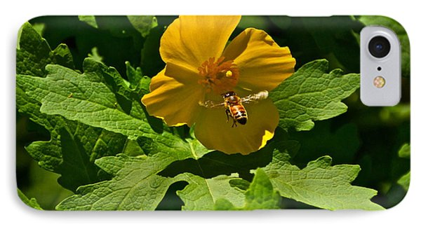 Flying Bee And Wood Poppy Phone Case by Byron Varvarigos