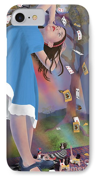 Flying Cards Dissolve Alice's Dream Phone Case by Audra D Lemke