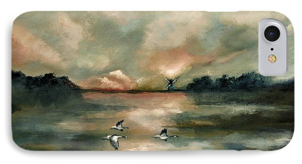 IPhone Case featuring the painting Flying Geese by Maja Sokolowska