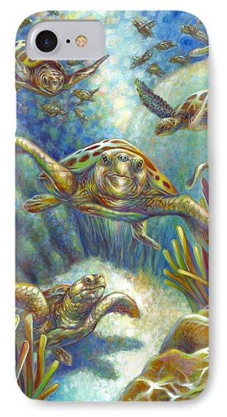 IPhone Case featuring the painting Flying Loggerhead Turtles by Nancy Tilles