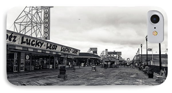 Flying Over The Boardwalk Mono IPhone Case by John Rizzuto