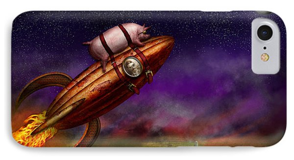 Flying Pig - Rocket - To The Moon Or Bust Phone Case by Mike Savad