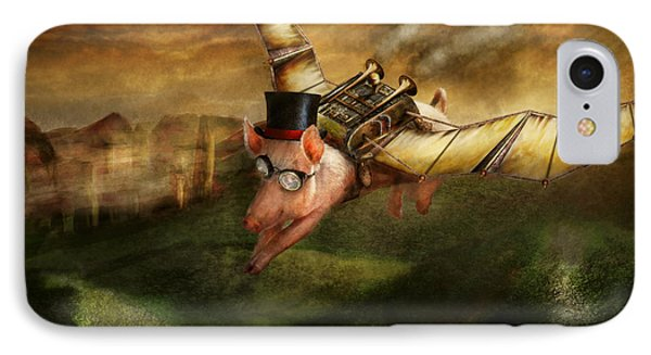 Flying Pig - Steampunk - The Flying Swine IPhone Case by Mike Savad
