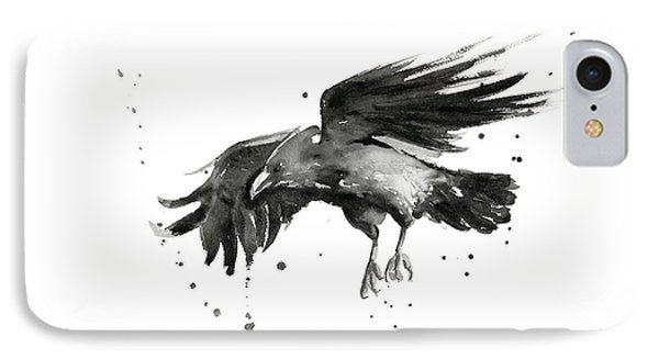 Crow iPhone 7 Case - Flying Raven Watercolor by Olga Shvartsur