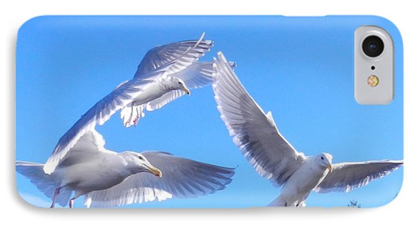 IPhone Case featuring the photograph Flying Seagulls by Karen Molenaar Terrell