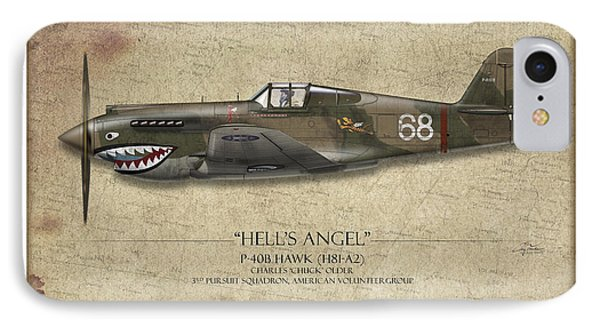 Flying Tiger P-40 Warhawk - Map Background IPhone Case by Craig Tinder