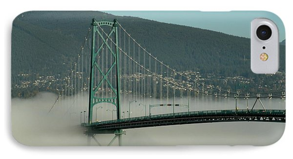 Fog Engulfing The Lion's Gate Bridge IPhone Case by Brian Chase